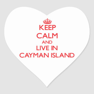 Keep Calm and live in Cayman Island Heart Sticker