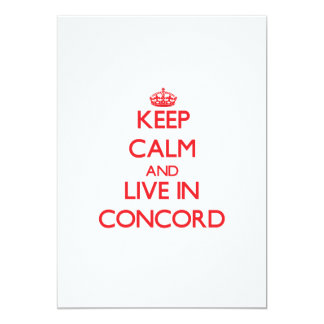 "Keep Calm and Live in Concord 5"" X 7"" Invitation Card"