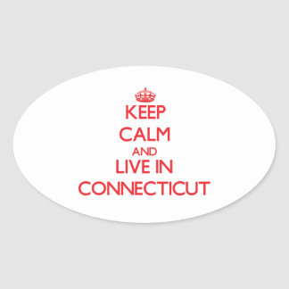 Keep Calm and live in Connecticut Oval Stickers