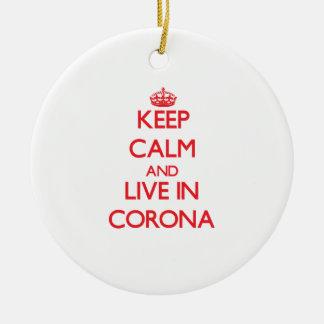 Keep Calm and Live in Corona Christmas Tree Ornaments