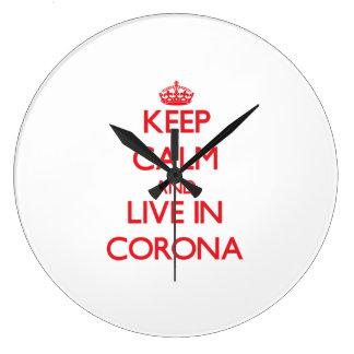 Keep Calm and Live in Corona Wall Clocks