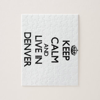 Keep Calm and live in Denver Jigsaw Puzzle