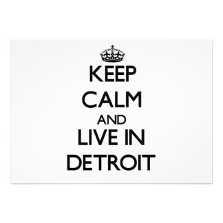 Keep Calm and live in Detroit Custom Announcements