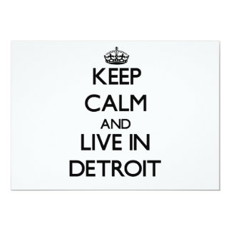 Keep Calm and live in Detroit 5x7 Paper Invitation Card