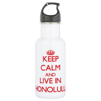 Keep Calm and Live in Honolulu 18oz Water Bottle