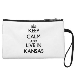 Keep Calm and Live In Kansas Wristlet Purses