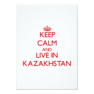 """Keep Calm and live in Kazakhstan 5"""" X 7"""" Invitation Card"""