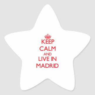 Keep Calm and Live in Madrid Star Stickers