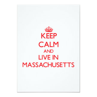Keep Calm and live in Massachusetts 5x7 Paper Invitation Card