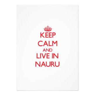 Keep Calm and live in Nauru Personalized Invitations