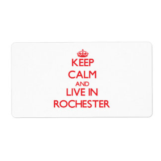 Keep Calm and Live in Rochester Custom Shipping Labels