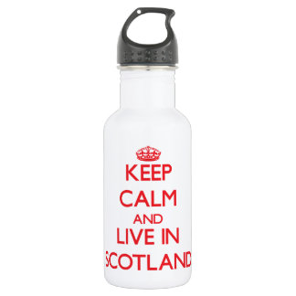 Keep Calm and live in Scotland 18oz Water Bottle