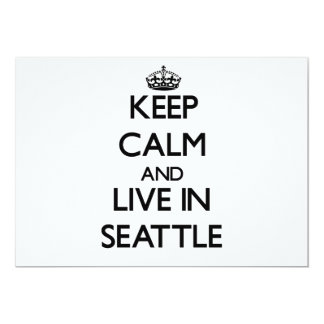 "Keep Calm and live in Seattle 5"" X 7"" Invitation Card"