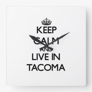 Keep Calm and live in Tacoma Wall Clock
