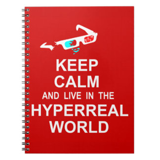Keep calm and live in the hyperreal world spiral notebook