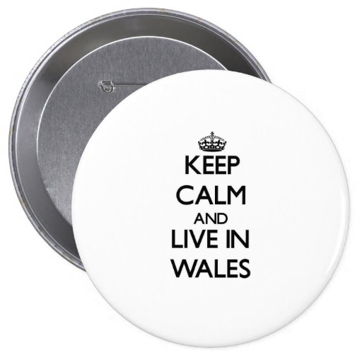 Keep Calm and Live In Wales Pinback Buttons