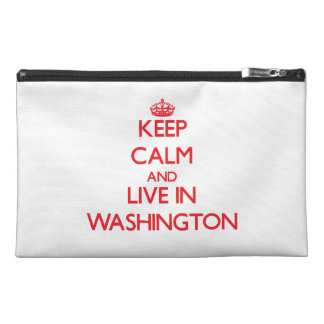 Keep Calm and Live in Washington Travel Accessory Bags