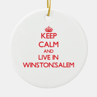 Keep Calm and Live in Winston-Salem Christmas Tree Ornaments