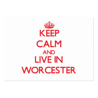 Keep Calm and Live in Worcester Large Business Cards (Pack Of 100)