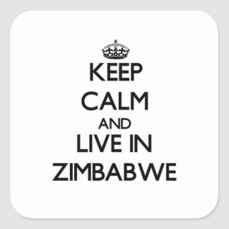 Keep Calm and Live In Zimbabwe Square Sticker