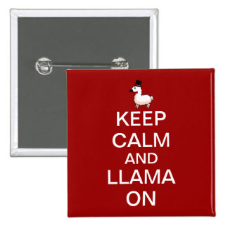 Keep Calm and Llama On Button