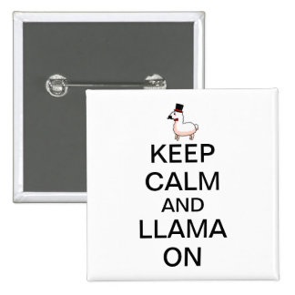 Keep Calm and Llama On Buttons
