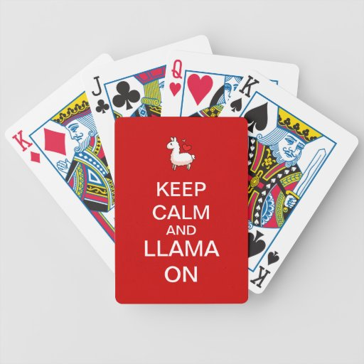 Keep Calm and Llama On Deck of Cards