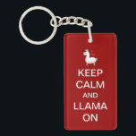 "Keep Calm and Llama On Keychain<br><div class=""desc"">What better advice to give to the llama lover in your life.</div>"