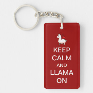 Keep Calm and Llama On Keychain