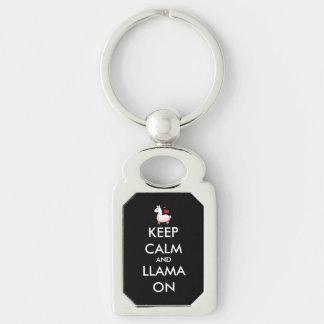 Keep Calm and Llama On Keychain