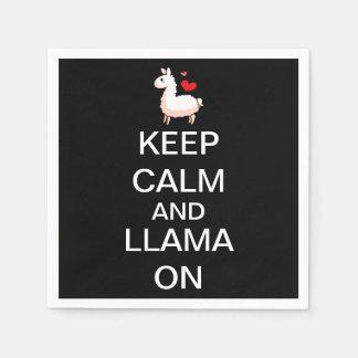 Keep Calm and Llama On Standard Cocktail Napkin