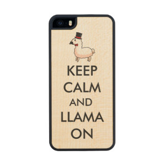 Keep Calm and Llama On Wood Phone Case For iPhone SE/5/5s