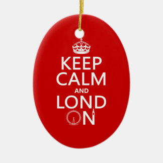 Keep Calm and Lond On (London) Ceramic Ornament
