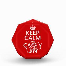 Small Acrylic Octagon Award with Keep Calm and Look Busy design