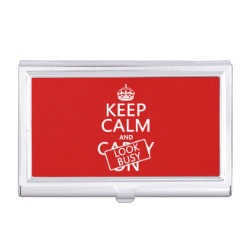 Business Card Holder with Keep Calm and Look Busy design