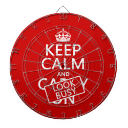 Megal Cage Dart Board with Keep Calm and Look Busy design
