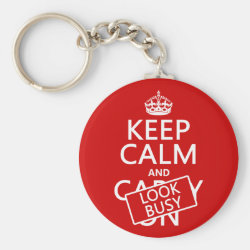 Basic Button Keychain with Keep Calm and Look Busy design