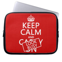 Neoprene Laptop Sleeve 10 inch with Keep Calm and Look Busy design