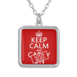 Small Necklace with Keep Calm and Look Busy design