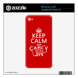 iPhone 4/4S Skin with Keep Calm and Look Busy design