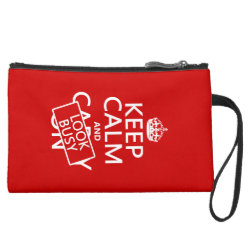 Sueded Mini Clutch with Keep Calm and Look Busy design