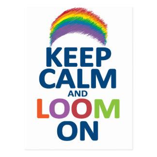 KEEP CALM AND LOOM ON RAINBOW POSTCARD
