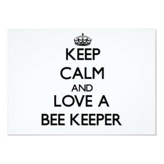 "Keep Calm and Love a Bee Keeper 5"" X 7"" Invitation Card"