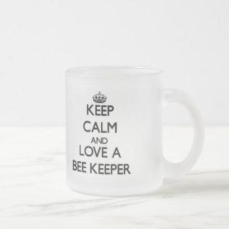 Keep Calm and Love a Bee Keeper 10 Oz Frosted Glass Coffee Mug