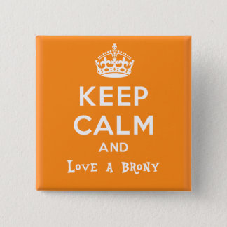 Keep calm and love a brony - orange pinback button