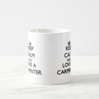Keep Calm and Love a Carpenter Classic White Coffee Mug