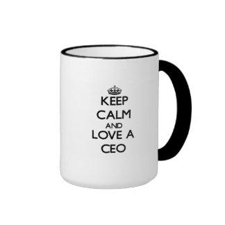 Keep Calm and Love a Ceo Ringer Coffee Mug