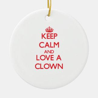 Keep Calm and Love a Clown Christmas Tree Ornament