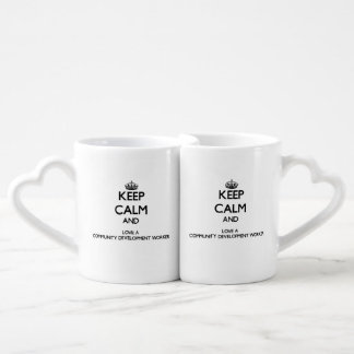 Keep Calm and Love a Community Development Worker Couples' Coffee Mug Set