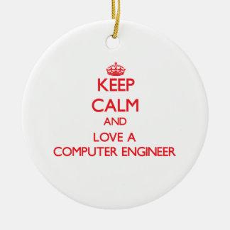 Keep Calm and Love a Computer Engineer Christmas Ornament
